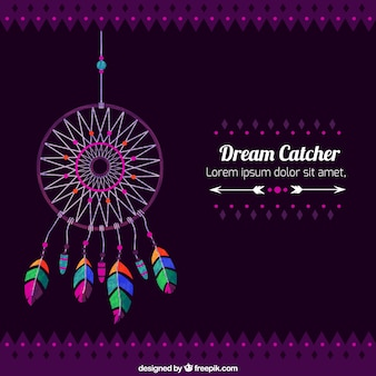 Decorative background of dreamcatcher with colorful feathers