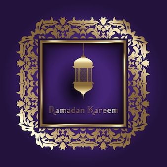 Decorative background for ramadan with gold frame