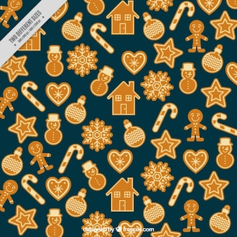 Decorative background of gingerbread cookies