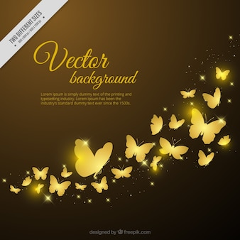 Decorative background of golden butterflies