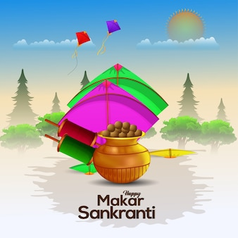 Decorative background for happy makar sankranti with string spool