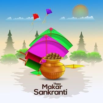 Decorative background for happy makar sankranti with string spool