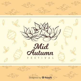 Decorative background for mid autumn festival in hand drawn style