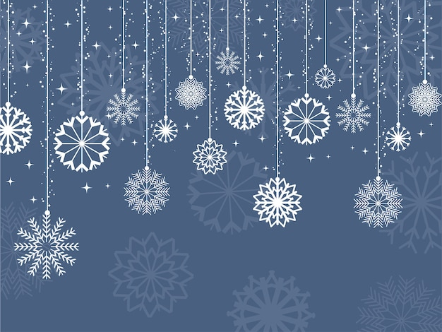 Декоративный фон из снежинок и звезд