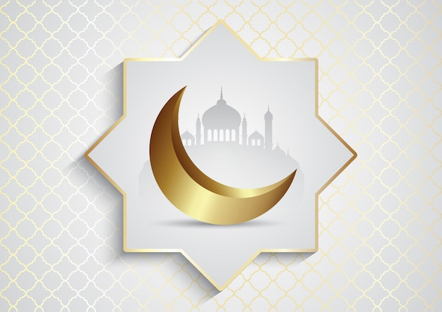 Decorative background for ramadan kareem with mosque and crescent moon