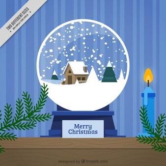 Sfondo decorativo di palla di neve e candela in design piatto