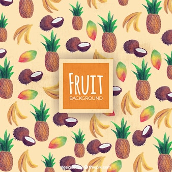 Decorative background of tropical fruits