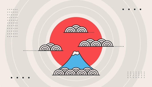 Decorative background vector with japanese style design template