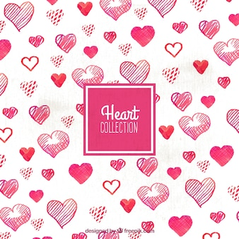 Decorative background of watercolor hearts