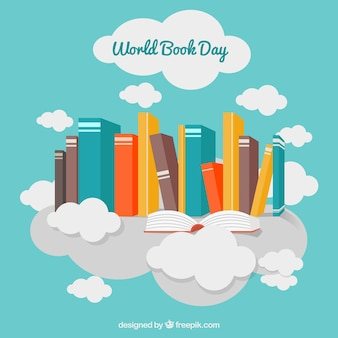 Decorative background with colored books and clouds