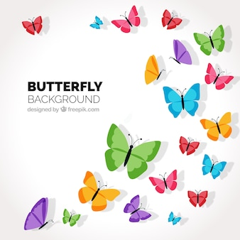 Decorative background with colored butterflies flying