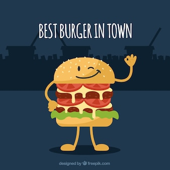 Decorative background with funny hamburger character