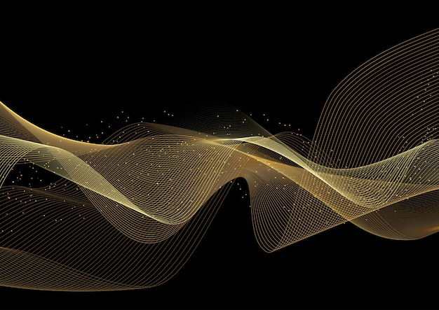 Decorative background with glittery gold waves design