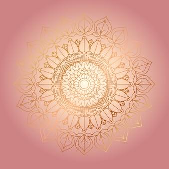 Sfondo decorativo con un design mandala d'oro