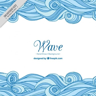 Decorative background with hand-drawn blue waves