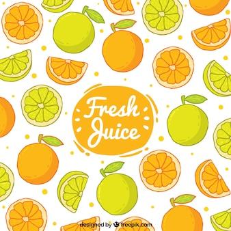 손으로 그린 오렌지와 레몬 장식 배경