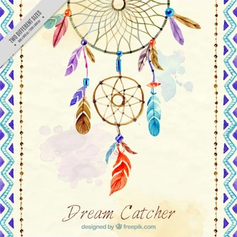 Decorative background with hand painted dream catcher