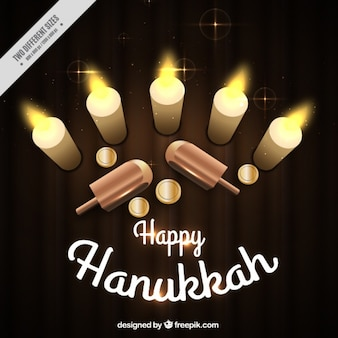 Decorative background with hanukkah items