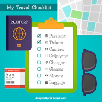 Decorative background with travel checklist