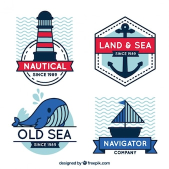 Decorative badges with sailor items in flat design