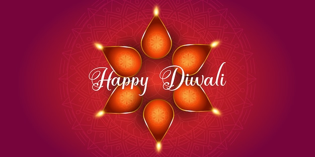 Decorative banner design for diwali with oil lamps
