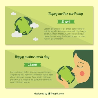 Decorative banners in green tones for mother earth day