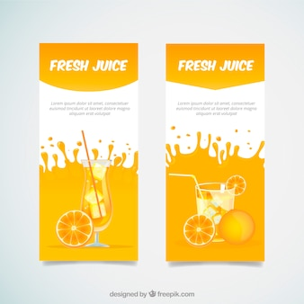 Decorative banners with orange juice drinks