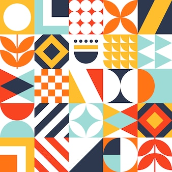Decorative bauhaus tile pattern with geometric shapes