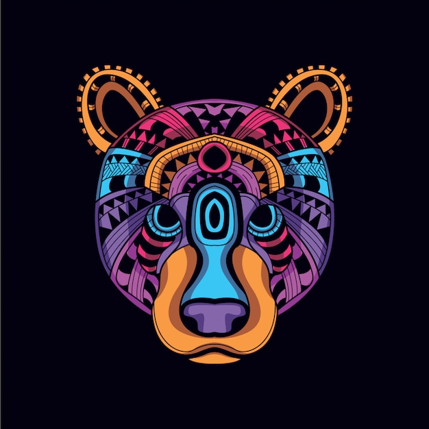 Decorative bear head from glow neon color
