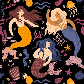 Decorative beautiful mermaid pattern