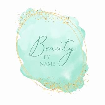 Design decorativo del logo ad acquerello a tema bellezza con elementi dorati scintillanti