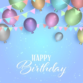 Decorative birthday background with balloons and banners