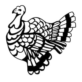 Декоративные черно-белые векторные индейки. печать на день благодарения