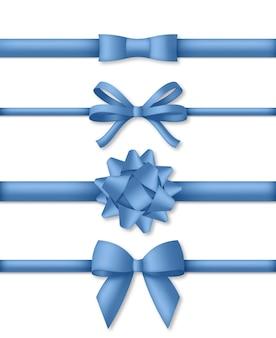 リボン付きの装飾的な青い弓。