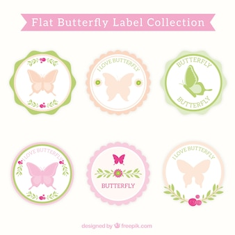 Decorative blue labels with butterflies