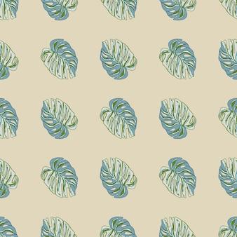 装飾的な青い熱帯のモンステラは、落書きスタイルでシームレスなパターンを残します