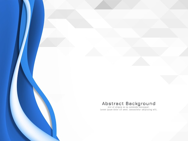 Decorative blue wave design on mosaic background vector