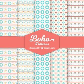 Decorative boho patterns with flat shapes