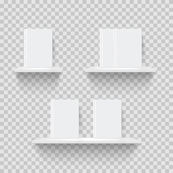 Decorative bookshelves realistic illustration 3d shelves with blank books on transparent background
