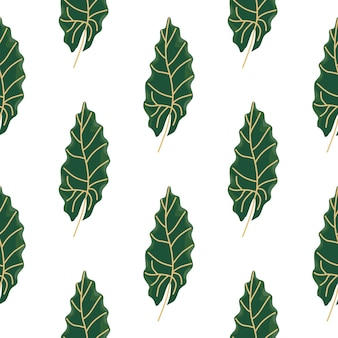 Декоративная ботаника бесшовные модели с зелеными овальными листьями печати