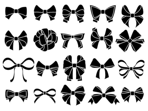 装飾的な弓のシルエット。ギフト包装用リボン、黒ジュビリーの弓ステンシル。クリスマス、記念日、バレンタインデーのパッケージリボン、パーティーの装飾の弓。分離ベクトルアイコンを設定