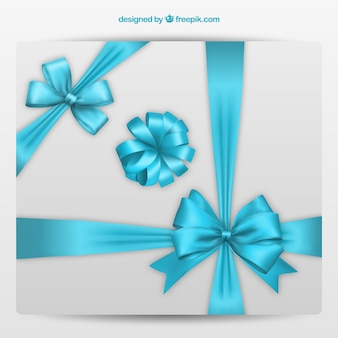Decorative bows in blue colors Free Vector