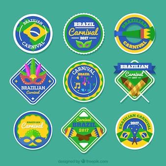 Decorative brazilian carnival label collection