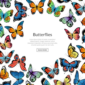 Decorative butterflies illustration, banner and poster
