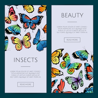Decorative butterflies web banner templates