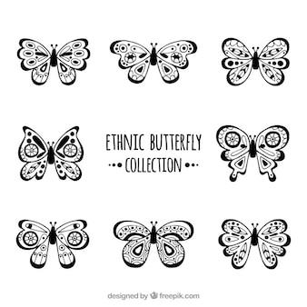 Farfalle decorativi con forme etniche
