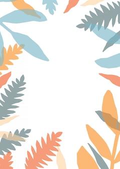 森林植物のカラフルな半透明の葉で作られたフレームまたは境界線を持つ装飾的なカードテンプレート