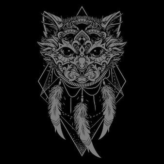 장식 고양이 얼굴. 민족 스타일의 고양이 문신.
