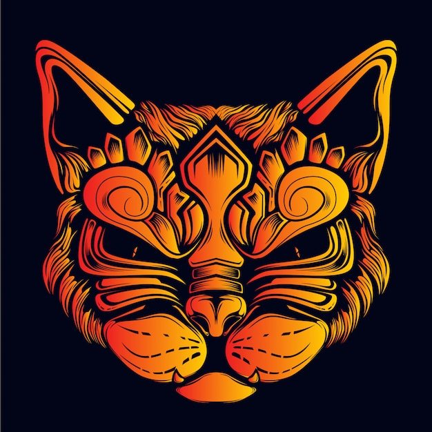 Decorative cat face glow in the dark