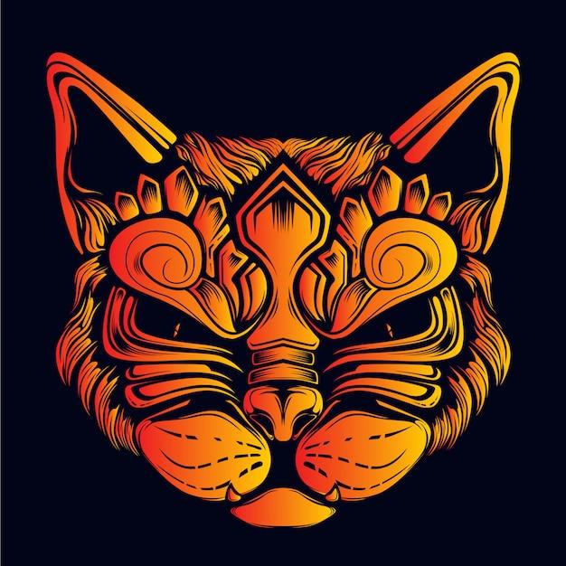 Декоративное лицо кота светится в темноте